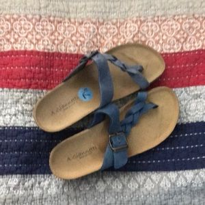 A. Giannetti sandals flip-flops leather blue 7.5